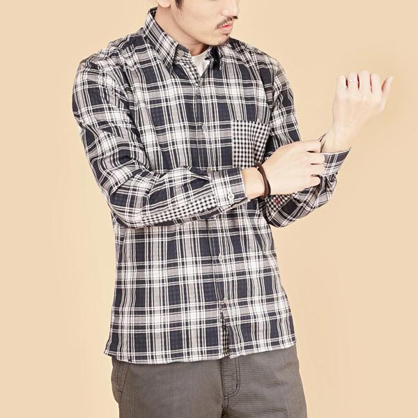 埃及棉格紋舒適休閒襯衫(男)-深藍