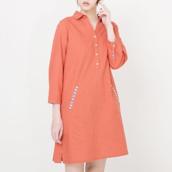 涼爽亞麻長袖洋裝(共2色) 洋裝,棉,麻,透氣,涼爽,亞麻,服裝,女裝,fantino