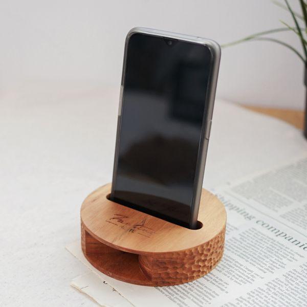 天然柚木手機擴音座-波點款/條紋款│A款 柚木,手機擴音座