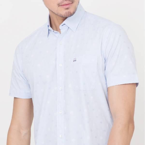 印度埃及棉休閒襯衫(男)-天藍印花