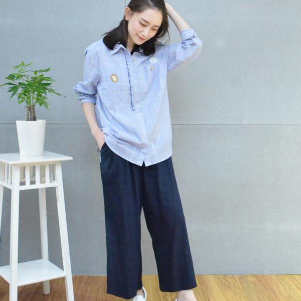 棉麻寬版九分褲(共3色) 休閒服,舒適,刺繡,台灣設計,台灣製造,文青,文創設計,刺蝟,戶外休閒