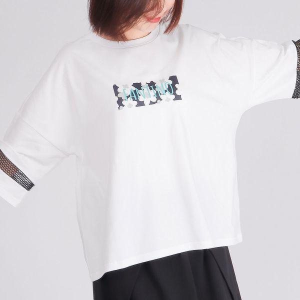 落肩七分袖圓領衫(女)-白