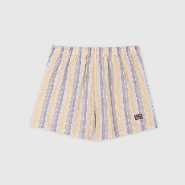 棉麻四角褲/平口褲-細直條紋灰黃