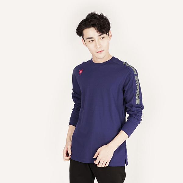 刺繡印花舒適棉衫(男)-藍