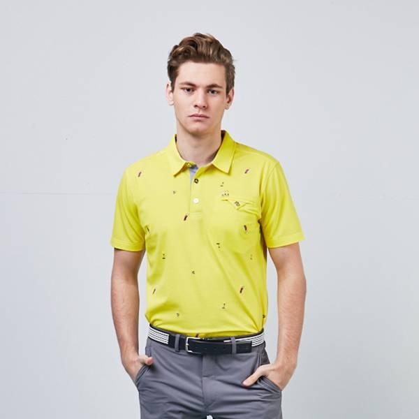 螢光光澤高爾夫刺繡男Polo衫-黃/藍
