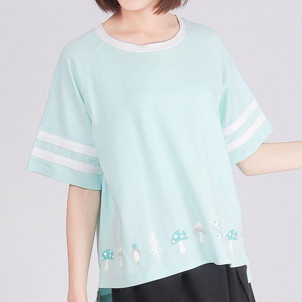 落肩五分袖印花圓領衫(女)-清水藍