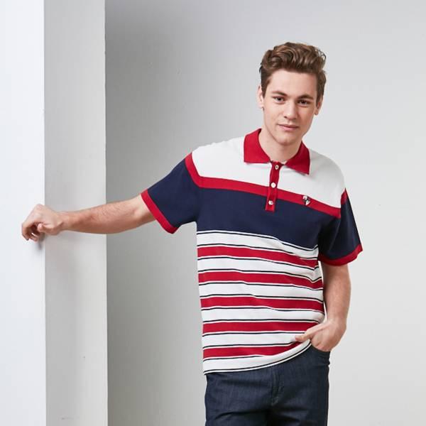 吸濕排汗寬細條紋立領POLO衫-藍/紅