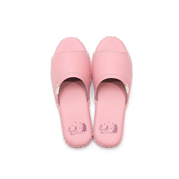 真皮手工縫製家居拖鞋/防滑室內拖鞋-櫻花粉(繽紛森林) 女鞋,室內拖,台灣設計,台灣製造,拖鞋,布花,居家良品,防滑,刺蝟,牛皮,真皮