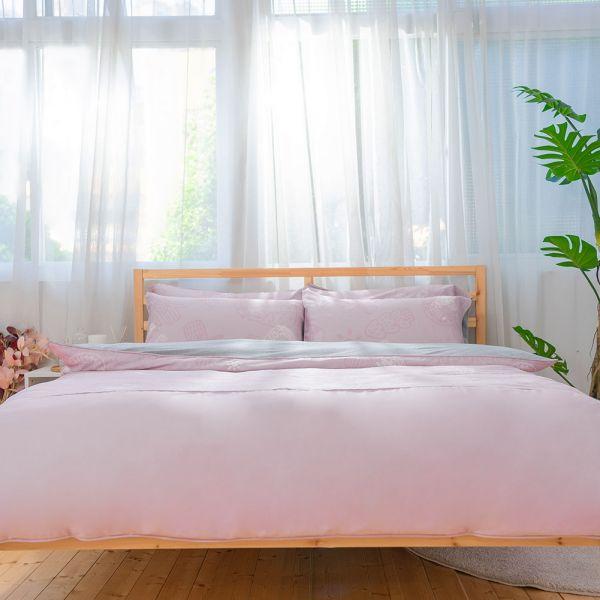 【組合】冬夏兩用寢具套組-莫代爾天絲UMORFIL美膚膠原蛋白紗-粉色 女襪,台灣設計,台灣製造,文青,短襪,文創設計,刺蝟,膠原蛋白,居家良品,寢具,枕套
