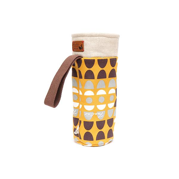 保溫防撞水壺袋/水瓶提袋(水玉迷宮)-黃水玉 保溫袋,水壺袋,水壺提袋,保冰溫,手攜式,防撞,防摔,保溫瓶,玻璃瓶,水壺,學生,保溫杯套,隔熱保護,水杯套