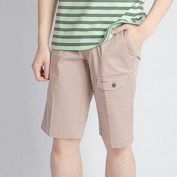 埃及棉短褲(男)-米印細條