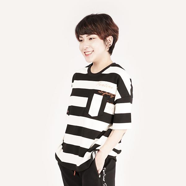 經典條紋休閒T恤(女)-黑白條