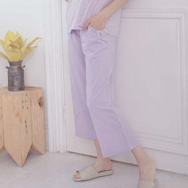 UMORFIL膠原蛋白微寬版九分褲-粉紫 睡衣,家居服,居家服,家居褲,居家褲,舒服睡衣,umorfil,膠原蛋白紗,美膚膠原蛋白,有機棉,親膚