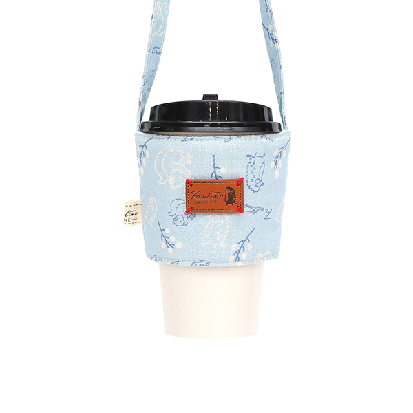 雙層隔熱環保飲料杯套/飲料提袋(森林萬花筒)-矢車菊藍 飲料杯套,環保杯套,手提杯套,杯套,環保飲料提袋,飲料袋,飲料提袋,婚禮小物,禮物,外帶,環保,防水布,杯套,飲料,提袋,杯套提袋,環保杯袋,環保杯,飲料杯