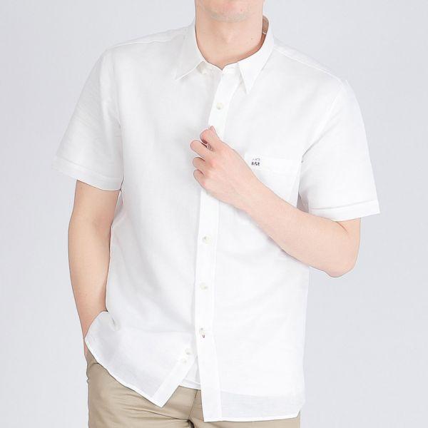 埃及棉混紡亞麻休閒襯衫(男)-白色