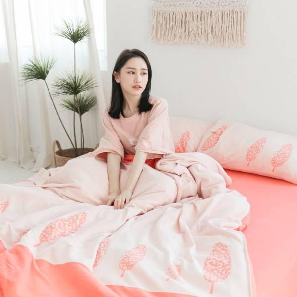 【床包】UMORFIL膠原蛋白針織寢具-珊瑚橘 女襪,台灣設計,台灣製造,文青,短襪,文創設計,刺蝟,膠原蛋白,居家良品,寢具,枕套