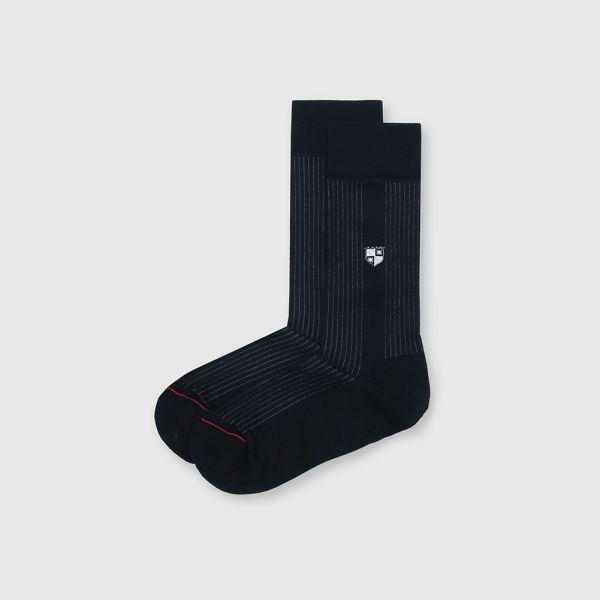【法國製】抗菌防臭旗幟圖騰紳士中筒襪-黑色