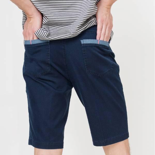 埃及棉修身牛仔短褲(男)-深藍