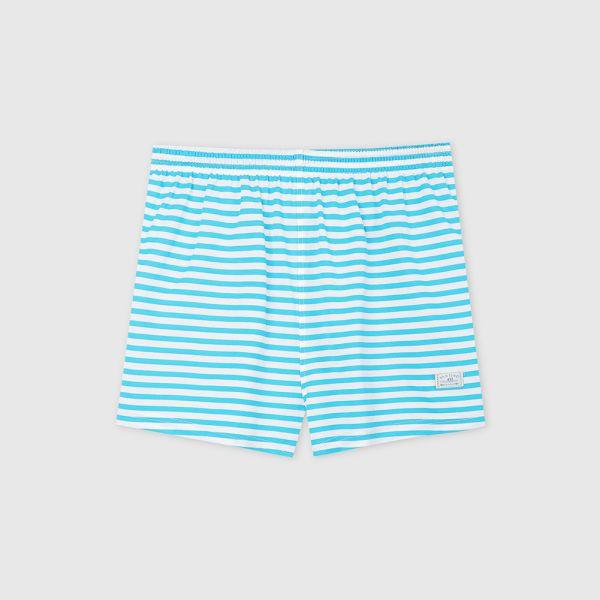 橫條紋透氣四角褲/平口褲-水藍