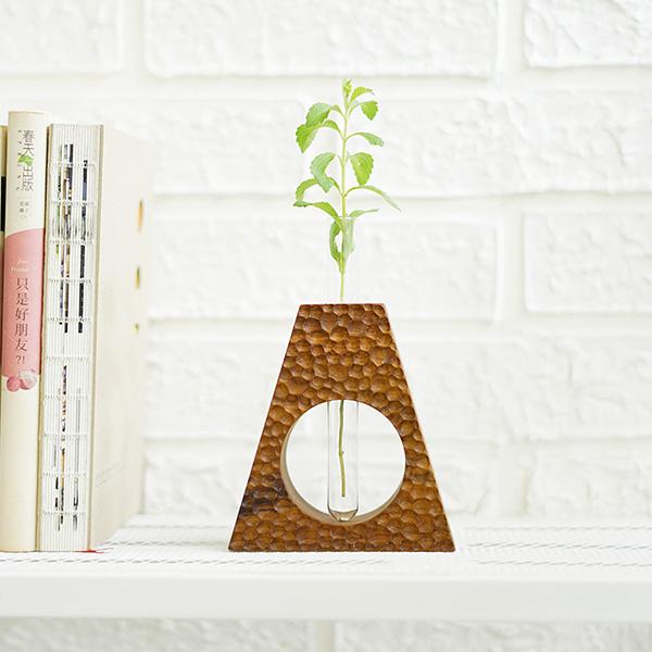 天然柚木玻璃管花器-三角波點款/條紋款 柚木,手機,擴音座