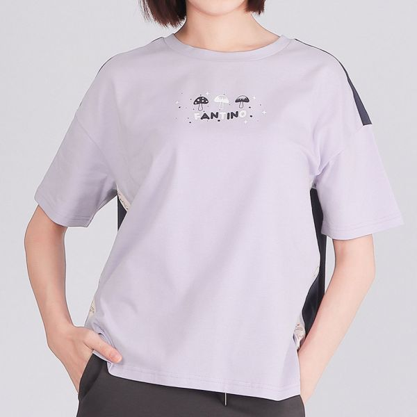 雙色拼接落肩圓領衫(女)-葡萄粉