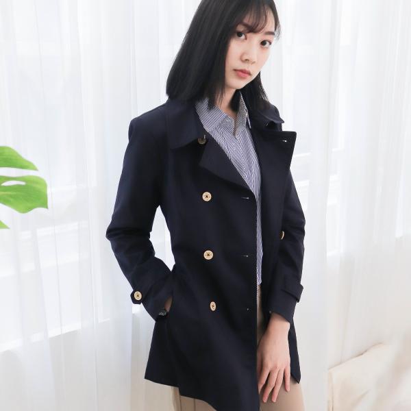 雙排釦風衣外套(藏青) 休閒服,舒適,刺繡,台灣設計,台灣製造,文青,文創設計,刺蝟,戶外休閒