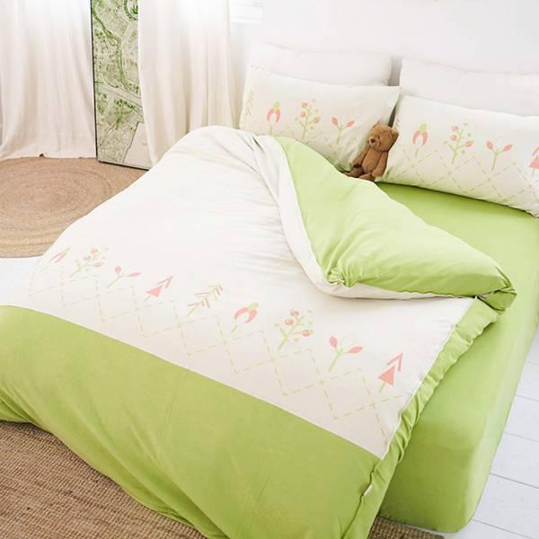 【被套】美膚膠原蛋白小樹針織寢具-米黃/抹茶綠(共3個尺寸) 女襪,台灣設計,台灣製造,文青,短襪,文創設計,刺蝟,膠原蛋白,居家良品,寢具,枕套