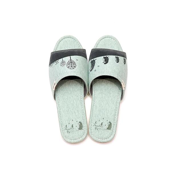 有機棉植絨家居拖鞋/室內拖鞋-麻花綠(刺蝟一家) 室內拖,台灣設計,台灣製造,拖鞋,布花,居家良品,防滑,刺蝟
