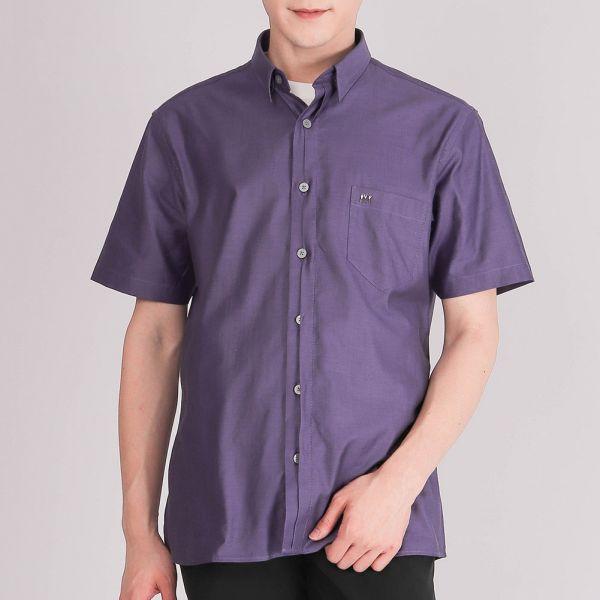 奧地利進口埃及棉休閒襯衫(男)-深紫