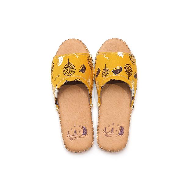 手工縫製真皮布花家居拖鞋/室內拖鞋-芥末黃(叢林躲貓貓) 女鞋,室內拖,台灣設計,台灣製造,拖鞋,布花,居家良品,防滑,刺蝟,豚皮,真皮
