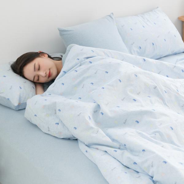 【床包】有機棉針織寢具-麻花藍(共4個尺寸) 女襪,台灣設計,台灣製造,文青,短襪,文創設計,刺蝟,膠原蛋白,居家良品,寢具,枕套