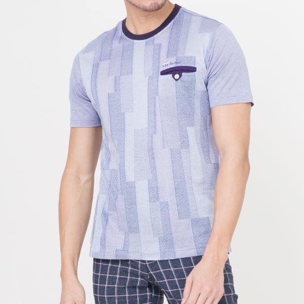 雙絲光純棉條紋口袋短袖T恤