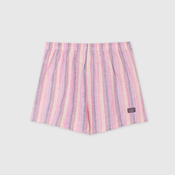 棉麻四角褲/平口褲-細直條紋粉