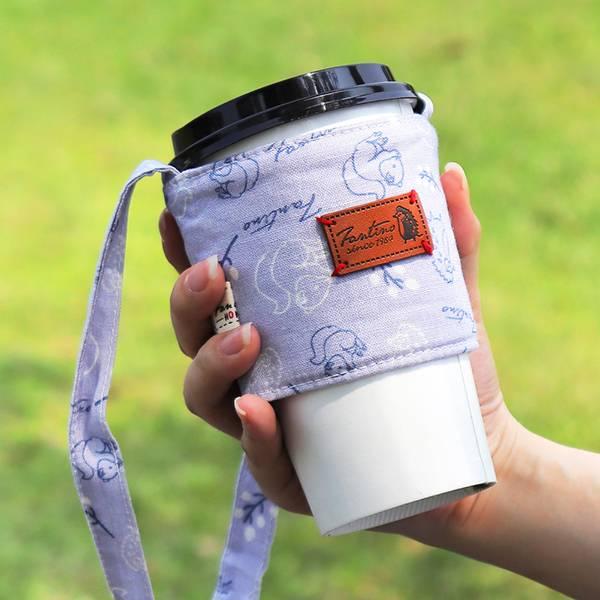 雙層隔熱環保飲料杯套/飲料提袋(森林萬花筒)-薰衣草紫 飲料杯套,環保杯套,手提杯套,杯套,環保飲料提袋,飲料袋,飲料提袋,婚禮小物,禮物,外帶,環保,防水布,杯套,飲料,提袋,杯套提袋,環保杯袋,環保杯,飲料杯