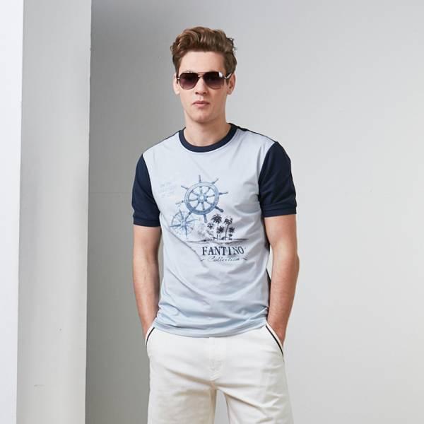 異國海洋風短袖T恤-淺水藍色/淺灰藍色