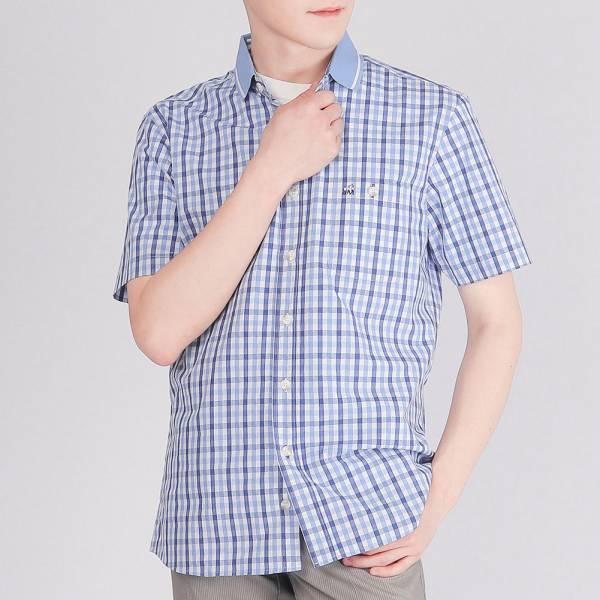 埃及棉親膚舒適格紋襯衫(藍) 埃及棉,親膚,襯衫,服裝,男裝,fantino