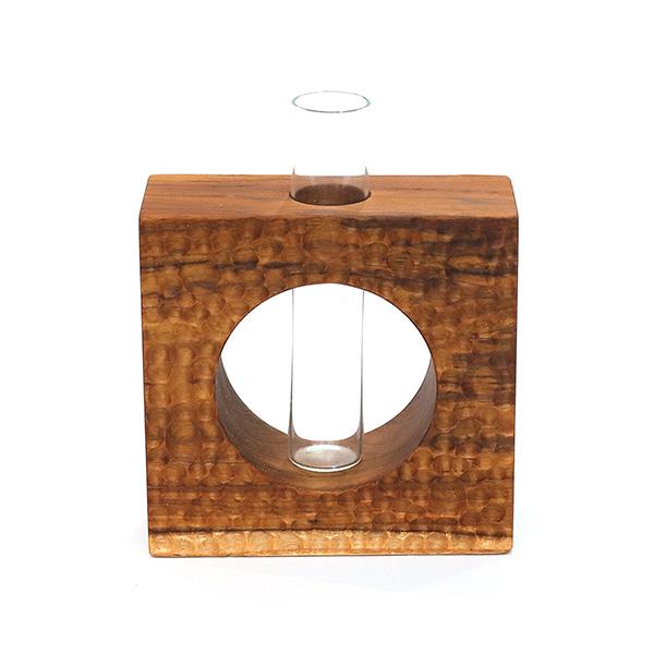 天然柚木玻璃管花器-方型波點款 柚木,手機,擴音座
