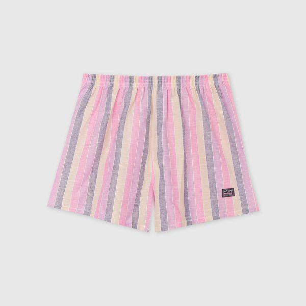 棉麻四角褲/平口褲-寬直條紋粉