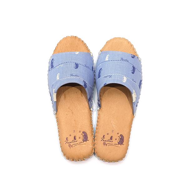 手工縫製真皮布花家居拖鞋/室內拖鞋-天空藍(漫步一線間) 女鞋,室內拖,台灣設計,台灣製造,拖鞋,布花,居家良品,防滑,刺蝟,豚皮,真皮