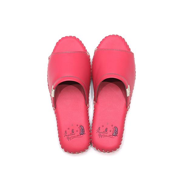 真皮手工縫製家居拖鞋/防滑室內拖鞋-莓果紅(繽紛森林) 女鞋,室內拖,台灣設計,台灣製造,拖鞋,布花,居家良品,防滑,刺蝟,牛皮,真皮