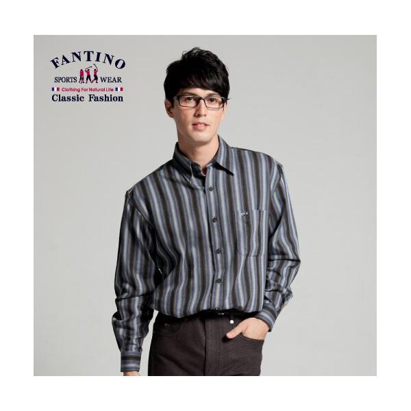 純棉橫條襯衫(男)-黑46/48/50
