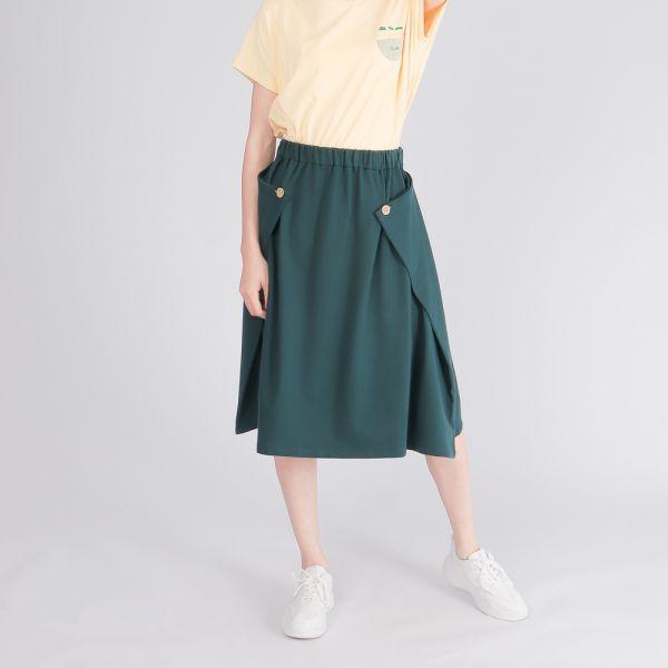 UMORFIL膠原蛋白立體感傘裙(女)-墨綠