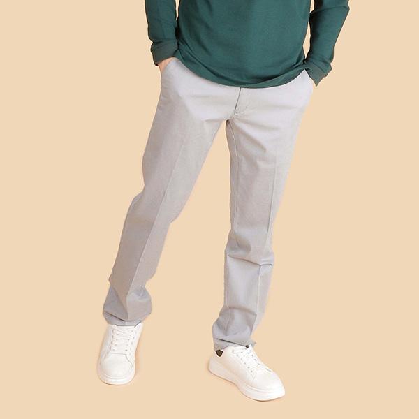 萊卡舒適休閒棉褲(男)-水藍