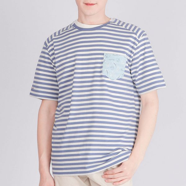 膠原蛋白印花圓領衫(男)-深藍條紋