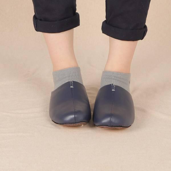 (包腳款)真皮防滑家居拖鞋/室內拖鞋-海軍藍 女鞋,室內拖,台灣設計,台灣製造,拖鞋,布花,居家良品,防滑,刺蝟,牛皮,真皮
