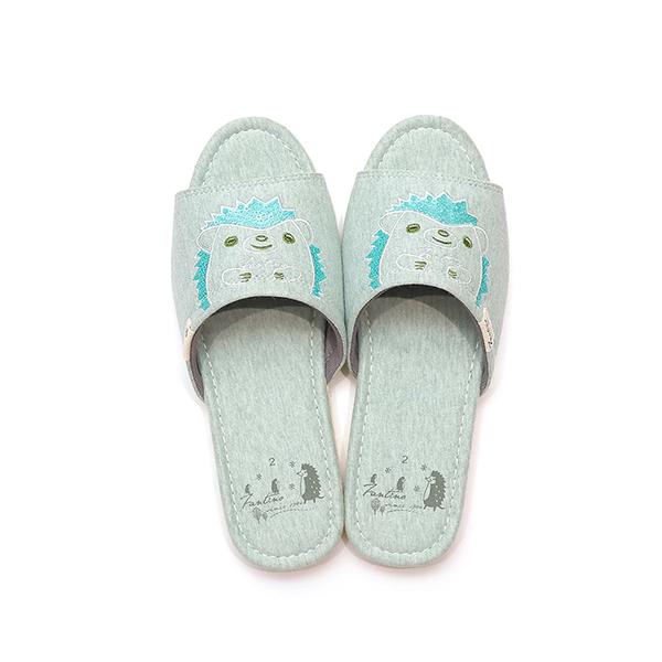 有機棉刺繡家居拖鞋/室內拖鞋-亮片綠(亮片刺蝟) 室內拖,台灣設計,台灣製造,拖鞋,布花,居家良品,防滑,刺蝟,亮片