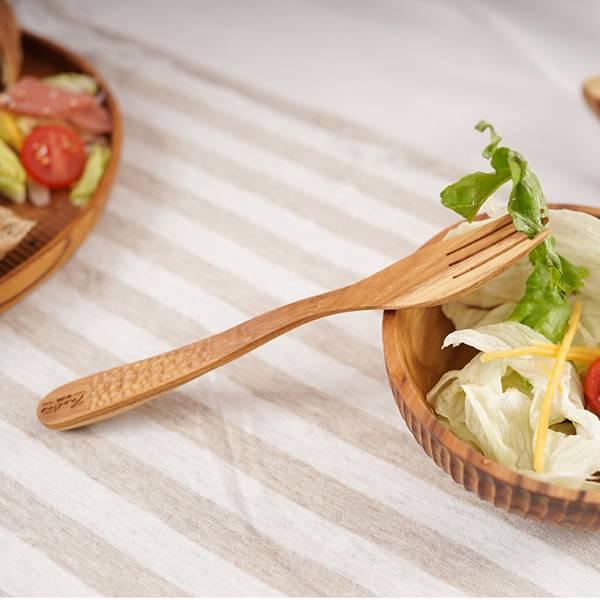 天然柚木叉子湯匙組-波點款 柚木,廚房,餐具,木叉子