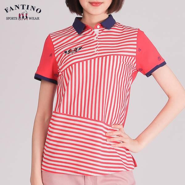 時尚條紋拼接POLO衫(女)-紅條紋48/50/52