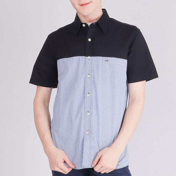 奧地利雙絲光休閒襯衫(男)-藍格紋