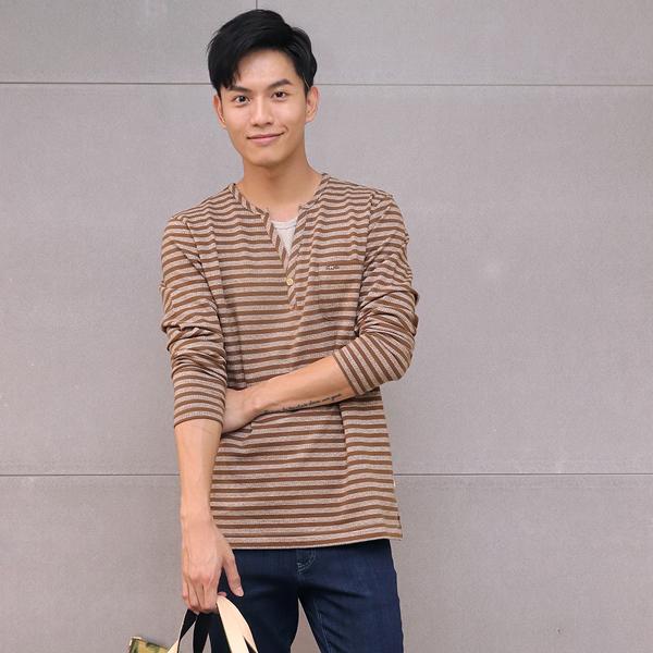 有機棉條紋開襟長袖上衣(共2色) 家居服,舒適,刺繡,台灣設計,台灣製造,文青,文創設計,刺蝟,居家良品